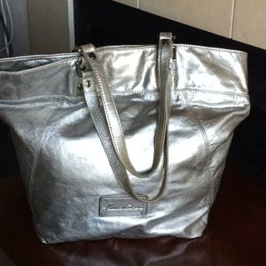 Kenneth Cole NY Oversized Silver Leather Tote